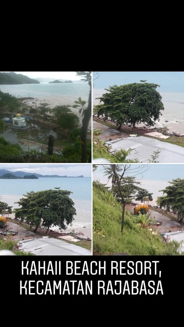 Tim Crisis Center Kementerian Pariwisata sudah melakukan monitoring dan pendataan. Ini adalah kondisi di Kahaii Beach Resort di Kecamatan Rajabasa (dok Kemenpar)