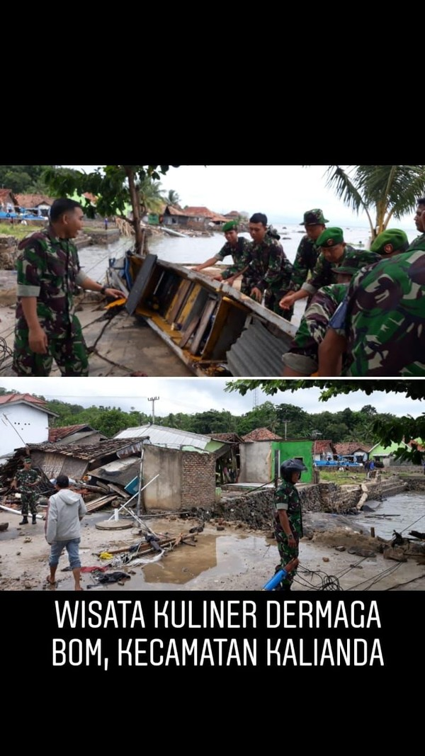 Kondisi di wisata kuliner Kecamatan Bom, Kalianda. Hingga kini Tim Crisis Center Kemenpar masih melakukan monitoring (dok Kemenpar)