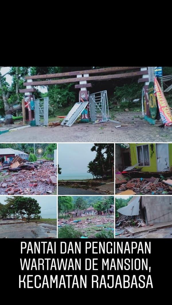 Masih di Kecamatan Rajabasa, pantai dan Penginapan Waratawan De Mansion juga hancur disapu tsunami (dok Kemenpar)