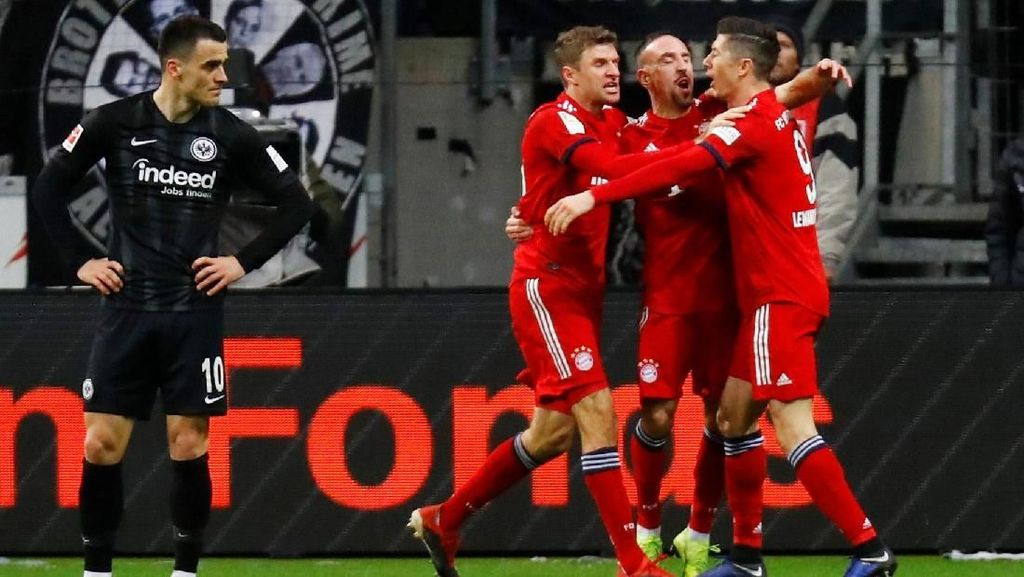 Hasil Liga Jerman: Ribery Dua Gol, Bayern Gulung Frankfurt 3-0