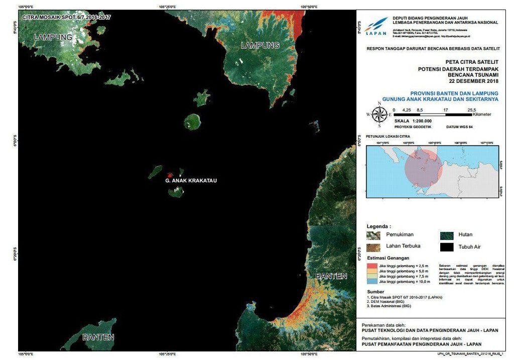 Terlihat Gunung Anak Krakatau yang berada di tengah-tengah selat Sunda. Citra satelit ini dirilis sebagai respon tanggap darurat bencana berbasis data satelit. Foto: Dok. LAPAN
