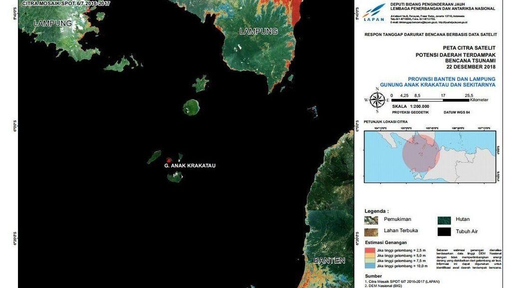 Citra Satelit Potensi Daerah Terdampak Tsunami Selat Sunda