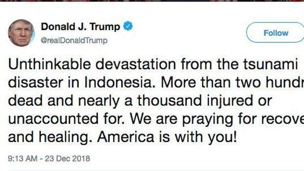 Via Twitter, Trump Hingga Bos IMF Sampaikan Duka untuk RI