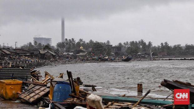 Kampung nelayan Teluk Labuan yang hancur usai diterjang tsunami Selat Sunda, Banten (25/12).