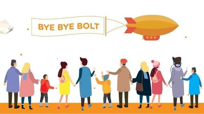 Bolt tutup hari ini dan ucapan perpisahan langsung dilontarkannya melalui situs resmi. Foto: Bolt