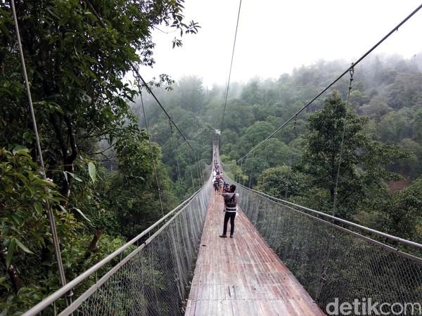 Jembatan ini pun ramai diserbu wisatawan. Jumlah pengunjungnya bisa mencapai 2.500 orang pengunjung saat musim libur Natal kemarin. Sementara saat akhir pekan, rata-rata kunjungan di atas angka 1.500 orang wisatawan. (Idris/detikTravel)