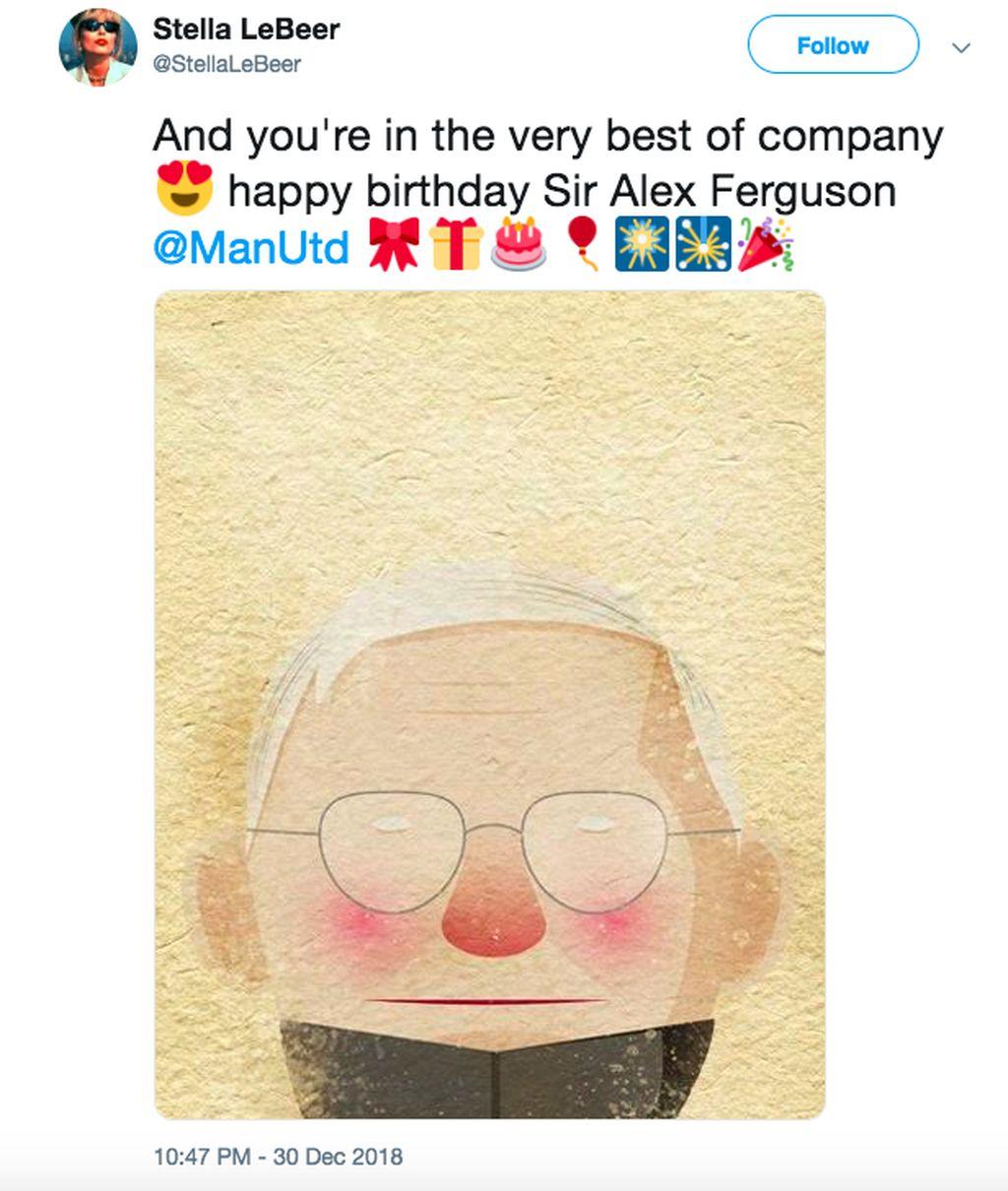 Seorang netizen memajang gambar lucu sosok Alex Ferguson sembari mengucap selamat ultah padanya. Foto: istimewa