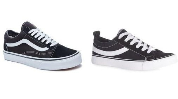 Vans Old Skool (kiri) versus Primark Skater Low Tops. Foto: istimewa