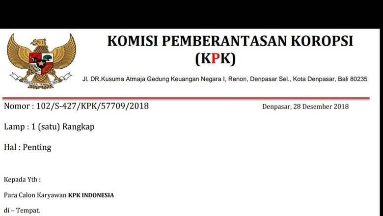 Waspada! Beredar Surat Palsu Penerimaan Karyawan KPK