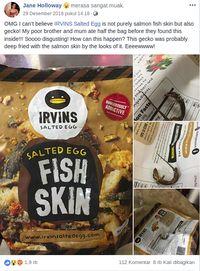 Netizen Kaget Ada Tokek dalam Kemasan Keripik 'Irvins' Singapura