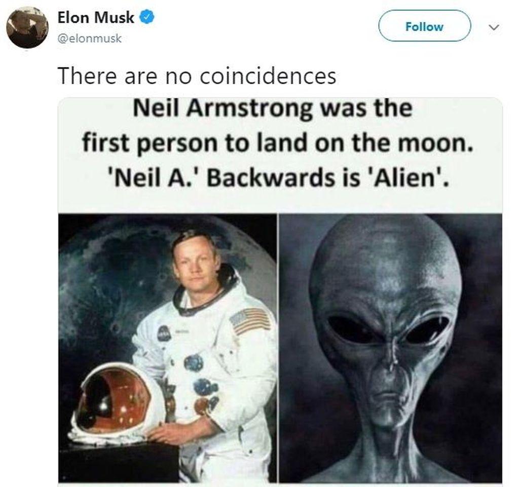 Melalui akun Twitter pribadinya, Elon Musk mengatakan bahwa Neil Armstrong adalah alien yang tak ubahnya teori konspirasi. Foto: Istimewa