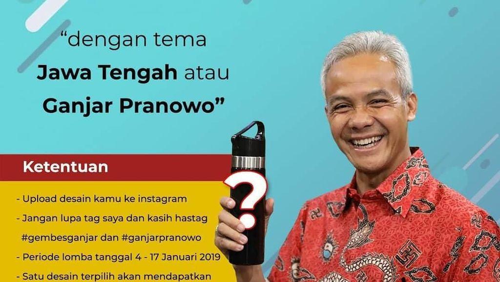 Ganjar Pranowo Tantang Netizen Bikin Desain Botol Minum Bertema Jateng