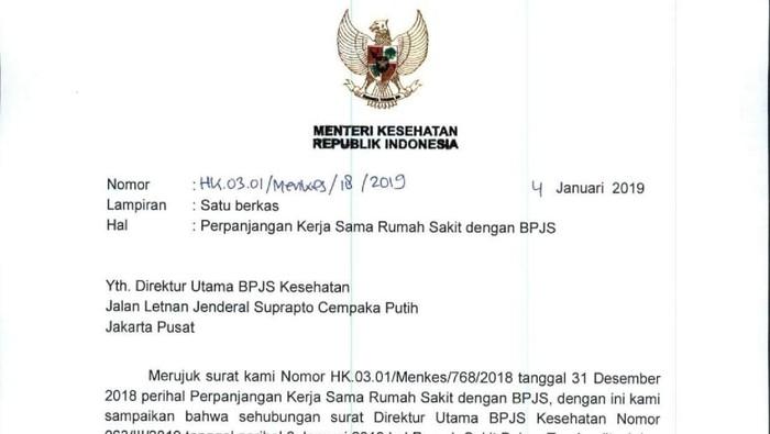 Surat rekomendasi Menteri Kesehatan. Foto: Kemenkes
