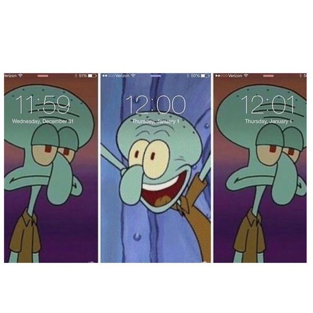 Apakah kamu termasuk orang-orang yang seperti Squidward saat malam pergantian tahun? Foto: Istimewa