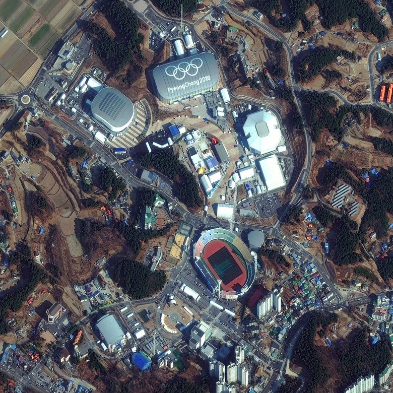 Potret Olimpiade musimg dingin yang digelar di Pyeongchang 2018 di Korea Selatan. Foto: Digital Globe
