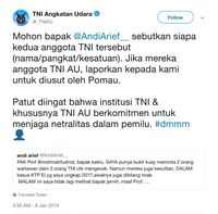 TNI AU Minta Andi Arief Sebut TNI yang Ikut Usut 7 Kontainer Surat Suara