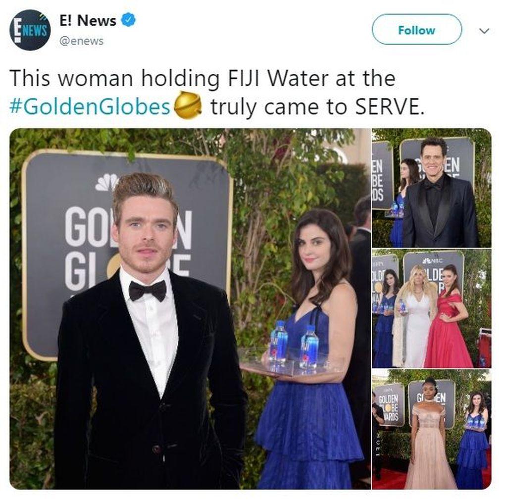 Seorang gadis pembawa air minum kemasan dalam ajang Golden Globes mencuri perhatian media sosial lantaran melakukan photobomb ke sejumlah selebriti. Foto: Istimewa