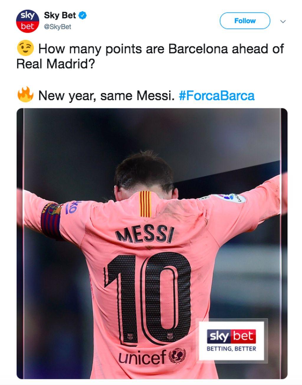 Nomor 10 di kostum Lionel Messi persis dengan selisih angka antara Real Madrid dan Barcelona di Liga Spanyol, di mana Barcelona di posisi satu dan Madrid posisi kelima. Foto: istimewa