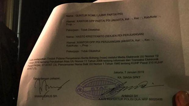 Surat tanda terima laporan Andi Arief.