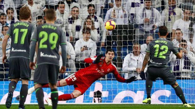 Real Sociedad mampu unggul cepat lewat tendangan penalti Willian Jose.