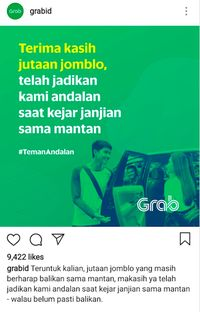 Kumpulan Ucapan Terima Kasih yang Kocak Ala Admin Instagram Grab