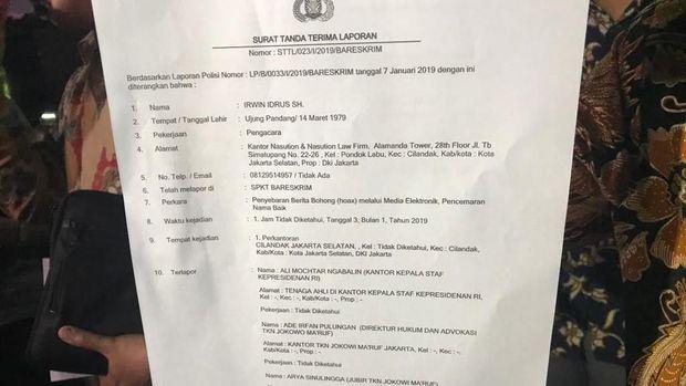 Surat tanda terima laporan Wasekjen Demokrat Andi Arief.