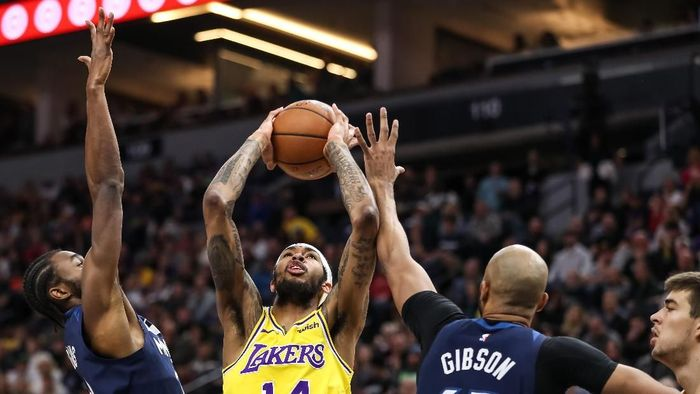 LA Lakers digasak Minnesota Timberwolves. Foto: Brace Hemmelgarn-USA TODAY Sports/Reuters