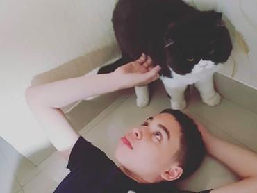 Hmm, rupanya Zarno yang tahun ini genap berumur 13 tahun senang menghabiskan waktu dengan kucing ya, he-he-he. (Foto: Instagram/ @janeshalimar_1)