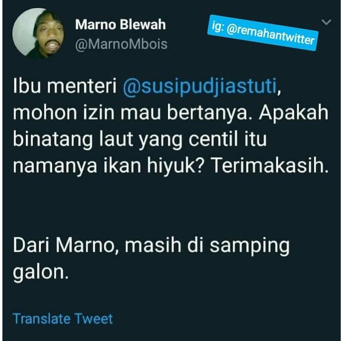 Puluhan netizen seolah kompak ramai-ramai bertanya pada Menteri Susi seputar ikan. Namun isi pertanyaannya cenderung kocak dan bikin ngakak. Seperti yang satu ini. Foto: Twitter