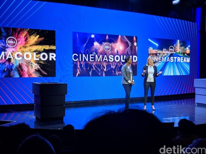Di panggung CES 2019, Dell memperkenalkan software Dell Cinema. Foto: Adi Fida Rahman/detikINET