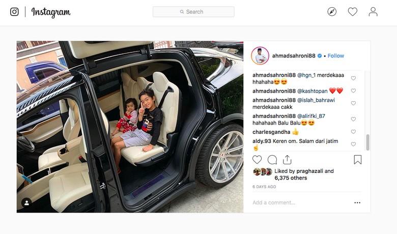 Tesla Model X Ahmad Sahroni. Foto: Instagram