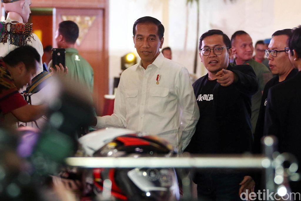Presiden Jokowi saat hadiri ultah Bukalapak yang digelar di JCC, Senayan, Jakarta, Kamis (10/1/2019).