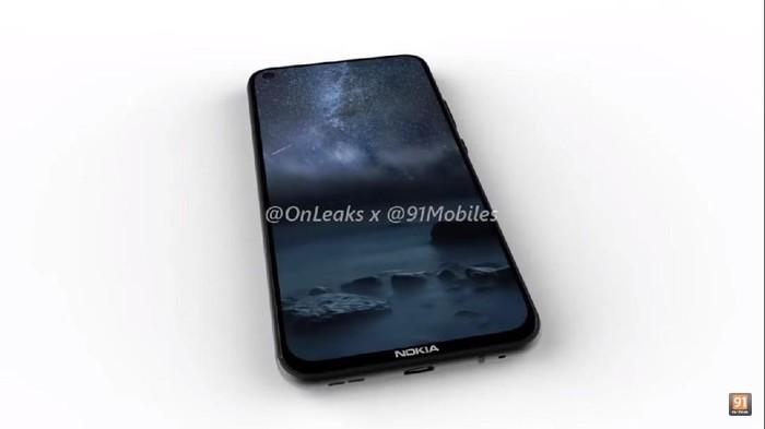Apa ini ponsel layar bolong dari Nokia? (Foto: Render Nokia 8.1 Plus via @OnLeaks/91mobiles)