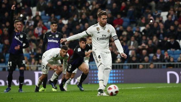 Gol penalti Sergio Ramos bawa Madrid unggul 1-0 atas Leganes.