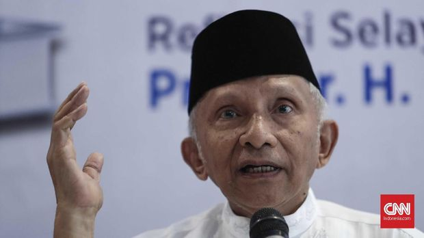 Politikus PAN Amien Rais ikut hadir dalam acara kuliah umum Rocky Gerung, di Yogyakarta.