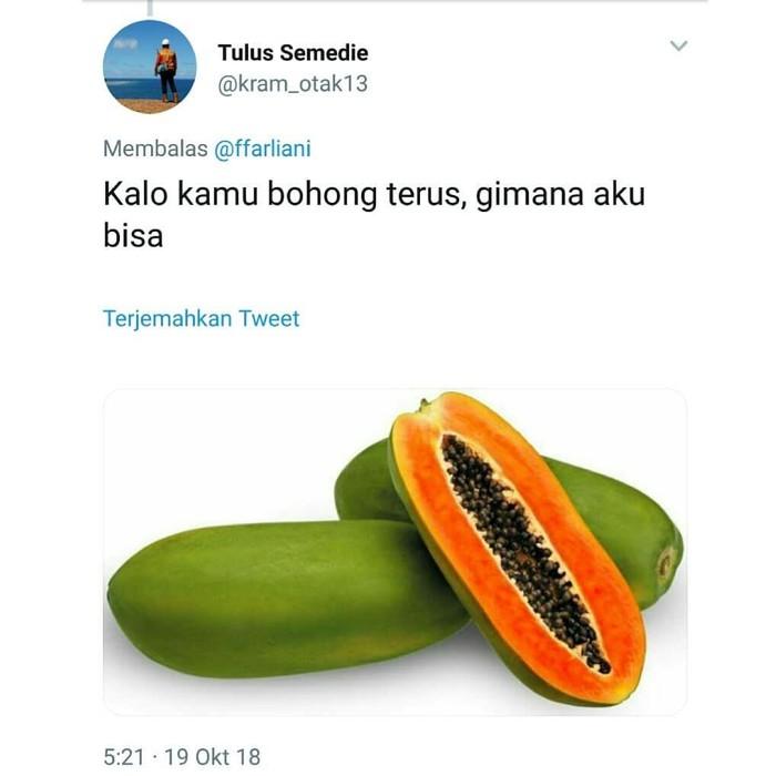 Netizen saling sahut dan saling membalas menggunakan nama makanan yang diplesetkan. Seperti yang satu ini, maksudnya kan percaya kok malah jadi pepaya. Foto: Twitter