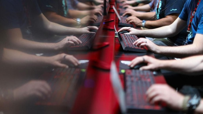 LOS ANGELES, CA - JUNE 13:  Gamers compete in PC gaming at the Nvidia booth during the Electronic Entertainment Expo E3 at the Los Angeles Convention Center on June 13, 2017 in Los Angeles, California.  (Photo by Christian Petersen/Getty Images)