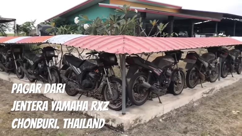 Yamaha RXZ untuk pagar rumah. Foto: Screenshot Youtube mohd eirwan