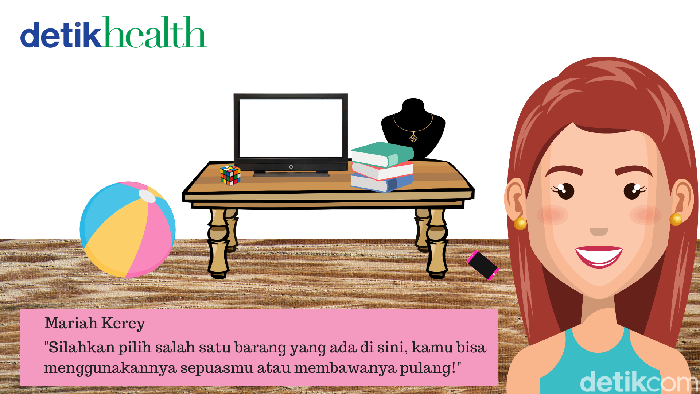 Pilih salah satu barang yang ada di rumah Mariah dan ia akan menemukan rahasia terpendammu. Kamu pilih yang mana? (Foto: detikHealth)