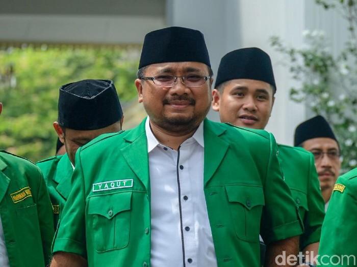 Ketum GP Ansor, Yaqut Cholil Qoumas menemui Presiden Jokowi.