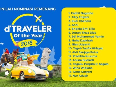 Inilah Nominasi Pemenang tiketcom dTraveler of The Year 2018!