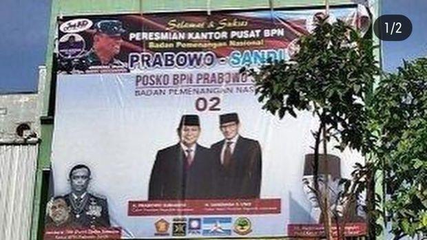 Foto Gatot Nurmantyo di baliho BPN Prabowo-Sandiaga