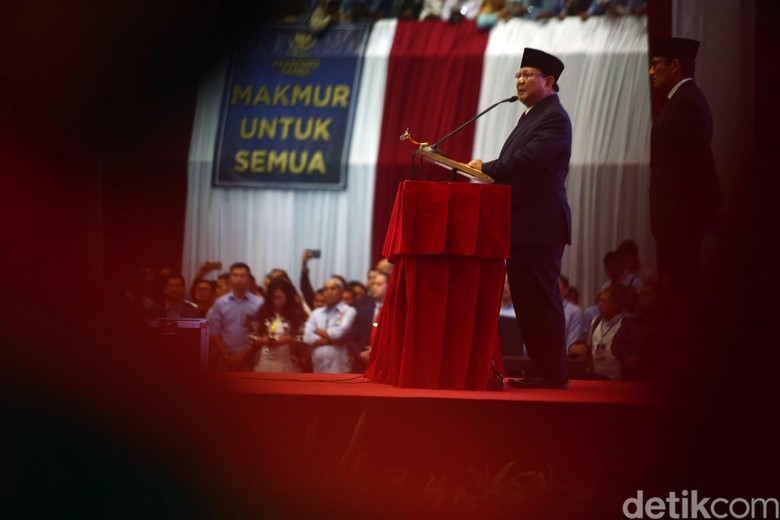Prabowo Subianto saat menyampaikan pidato Kebangsaan. Foto: Grandyos Zafna
