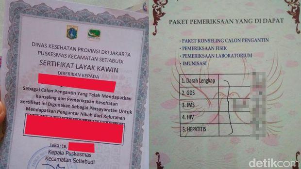 Hasil tes kesehatan ada di balik sertifikat.