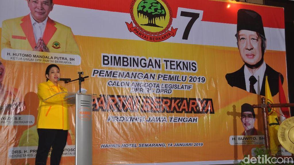 Titiek Soeharto Minta Caleg Sosialisasi Beda Partai Berkarya dan Golkar
