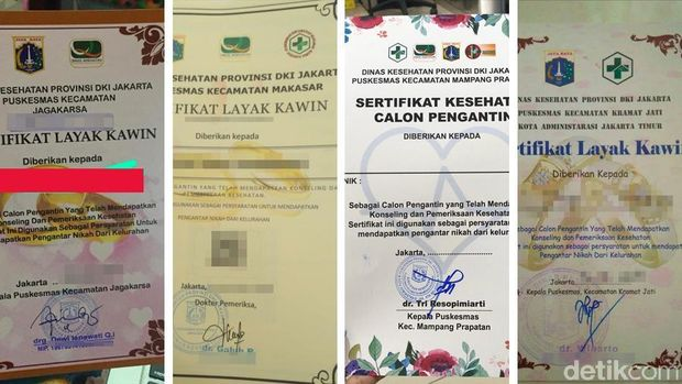 Penampakan berbagai versi sertifikat layak kawin di DKI Jakarta.