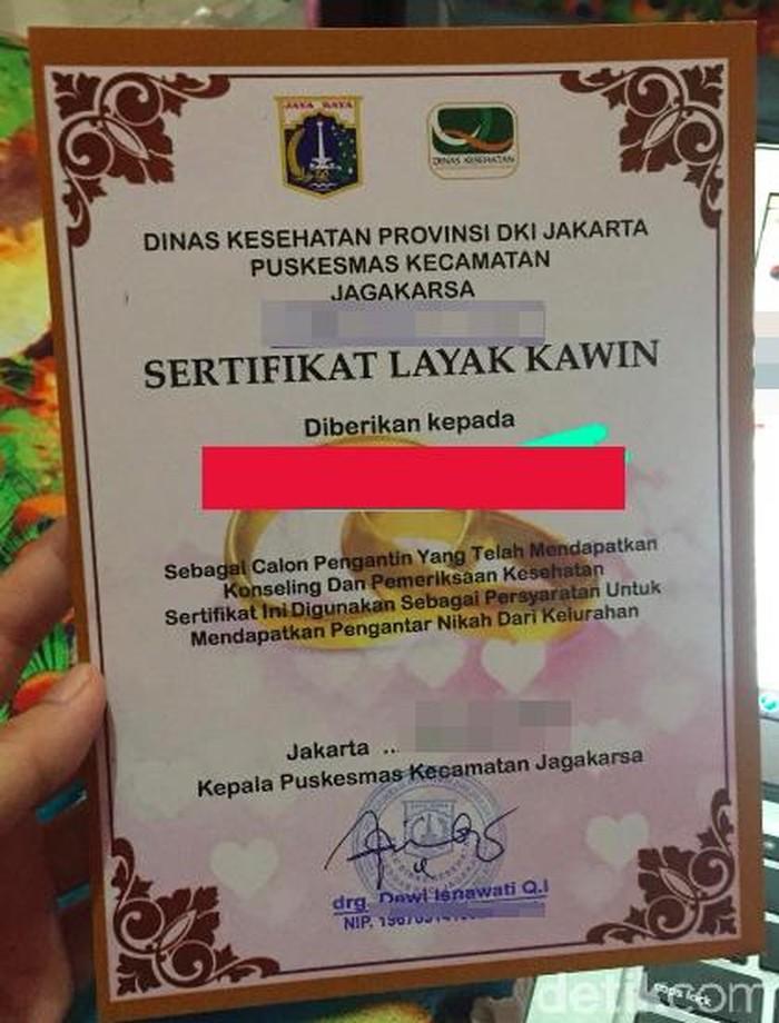 Ini adalah sertifikat layak kawin yang dikeluarkan oleh Puskesmas Kecamatan Jagakarsa, Jakarta Selatan. Foto: dok. detikHealth