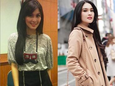 Sandra Dewi tetap oke saat sebelum dan sesudah punya anak. Jadi, mana favorit 10YearsChallenge Bunda? (Foto: Instagram/sandradewi)
