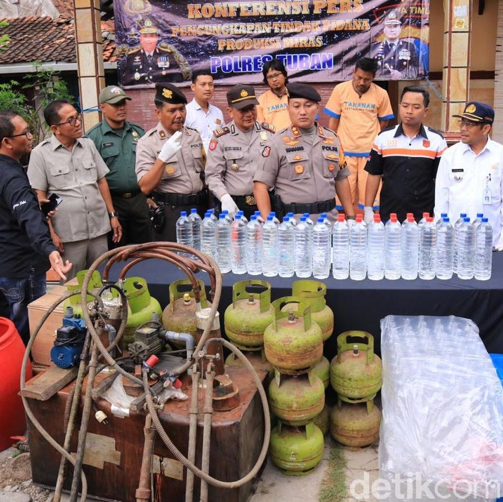 2 Home Industry Arak di Tuban Digerebek, Sehari Produksi 50 Liter