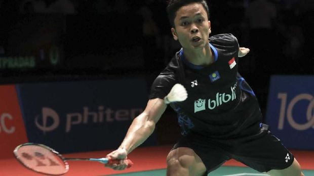 Anthony Ginting gagal ke final Swiss Terbuka 2019. (